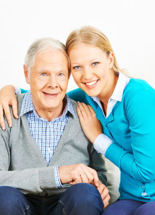 woman and old man smiling
